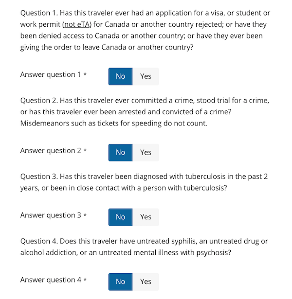 Background questions in the eTA Canada form