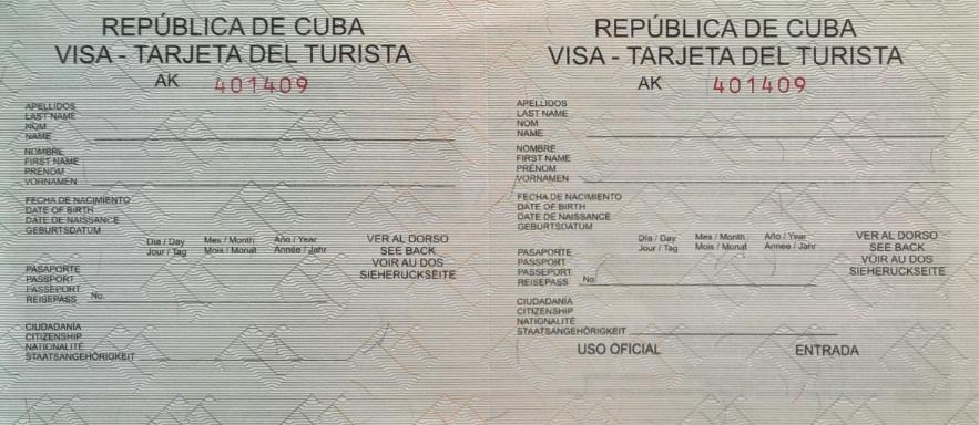 Example of the Cuba visa