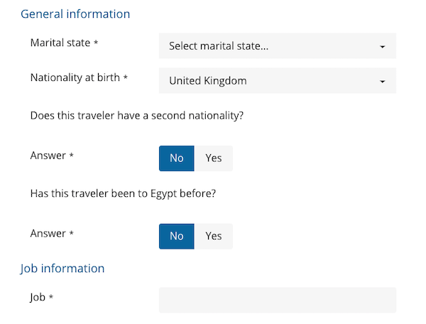 Fill in general information for the Egypt visa