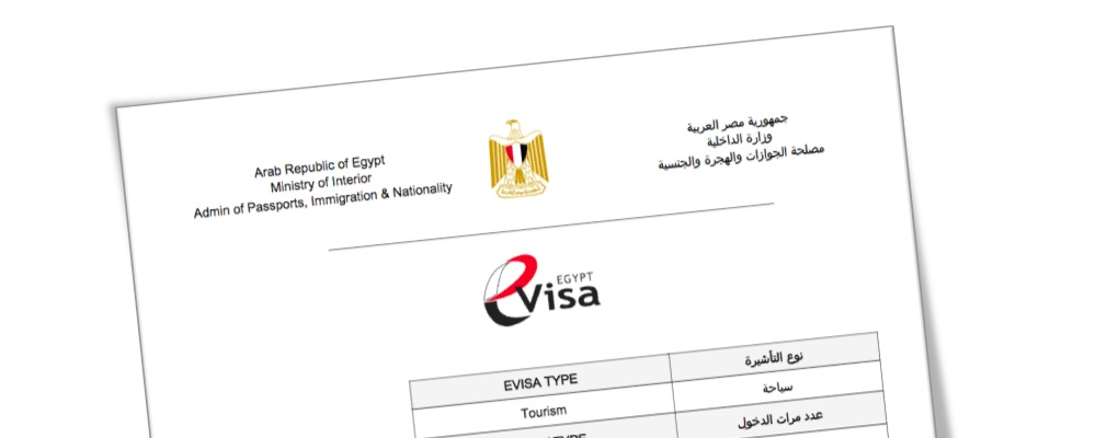 Example of an Egypt visa