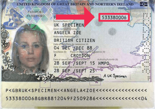 The document number on a British passport