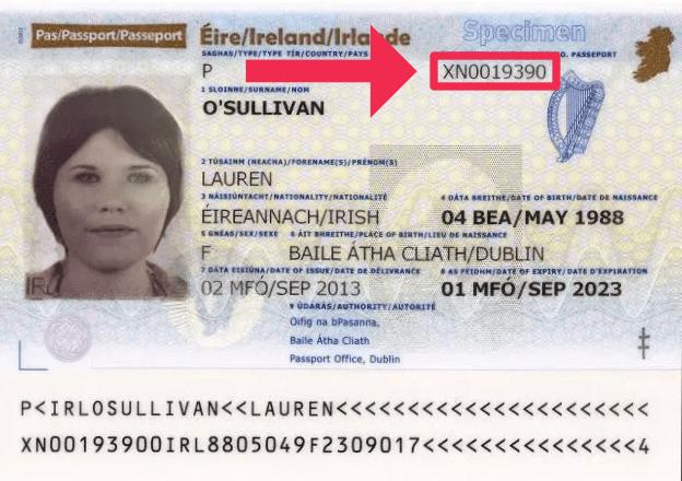 The document number on an Irish passport
